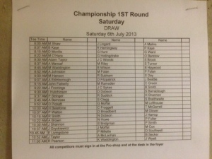 Club championship draw